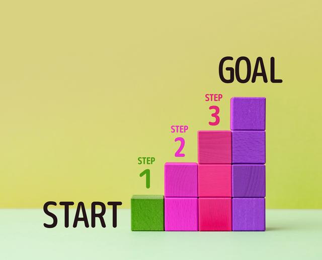 スタートからゴールまでの3ステップの階段をイメージ